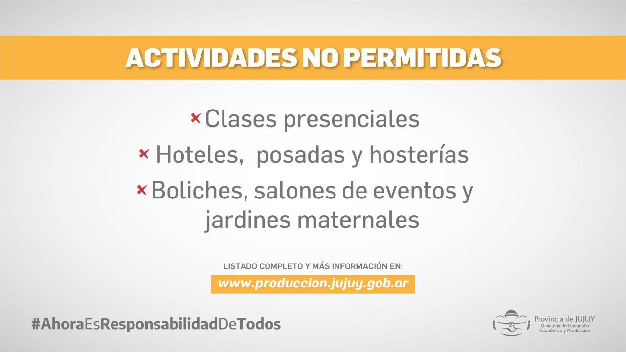 actividades no permitidas